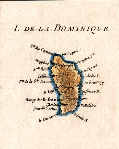 Antique Map Of The Caribbean Island Of Dominica